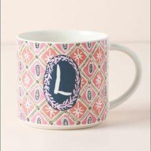 Anthropologie Jo Monogram Mug initial L